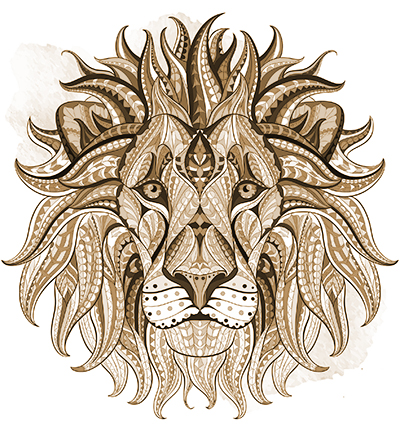 55087249 - patterned head of the lion on the grunge background. african / indian / totem / tattoo design. it may be used for design of a t-shirt, bag, postcard, a poster and so on.